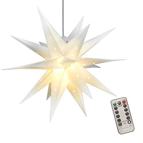 Meowstic Adventsstern Rot Weihnachtsstern 3D Stern Kunststoff Ø 60cm Upgrade Warme Lichterkette und Fernbedienung (Weiß-A)