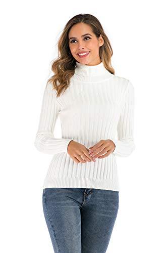 Suéter Cuello Alto para Mujer Pull-Over Tops Primavera Otoño Suéter de Punto Suéter de Invierno cálido y Elegante Suéter Elegante Calcetín Moderno Cuello Alto Alto Básico
