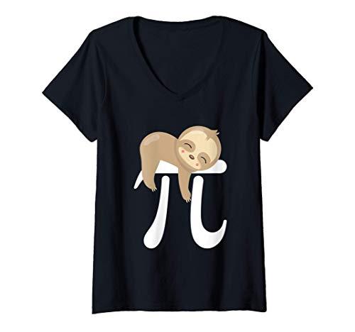 Mujer Bebé Perezoso Símbolo Pi Día Pi Matemáticas Geek Camiseta Cuello V