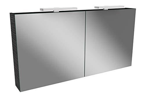 Lanzet LED Spiegelschrank L2 / Badschrank mit 2 LED Leuchten/Maße (B x H x T): ca. 120 x 68 x 14,5 cm/Möbel fürs Bad oder WC/Badezimmer Schrank mit 2 Türen/Korpus: Schwarz/Front: Spiegel