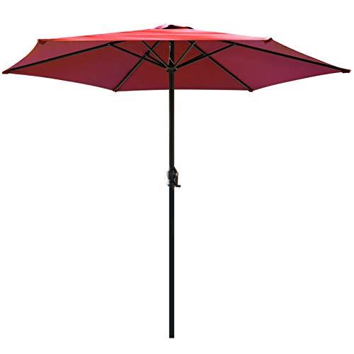 Sonnenschirm, Aluminium Balkon Sonnenschirm, Ø 270 cm, mit kurbel UV Schutz Gartenschirm Marktschirm, Rund Terrassenschirm, für Balkon, Garten, Terrasse, Strand (Rot)