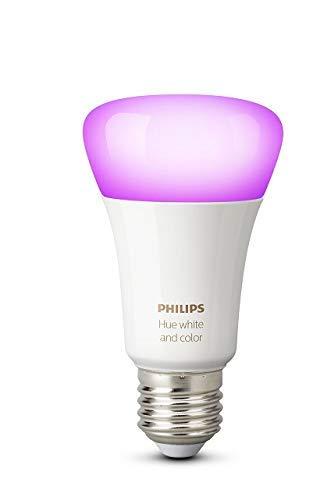 Philips Hue Bombilla Inteligente LED E27, 9.5 W, Luz Blanca y de Colores, Compatible con Alexa y Google Home