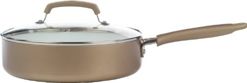 WearEver C94433 Pure Living Nonstick Ceramic Coating Scratch Resistant PTFE PFOA and Cadmium Free Dishwasher Safe Oven Safe Jumbo Cooker Cookware, 3.5-Quart, Gold