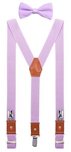 SUNNYTREE Baby Boys Suspenders Bow Tie Set Adjustable Y Back Elastic 24 inches Lavender