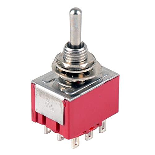 aolongwl Interruptor basculante 1 PC Nuevo Nuevo Pin Red 9 Pin ON-ON-ON ON 3 Position Mini Cambio de Palanca AC 6A / 125V 3A / 250V VE521