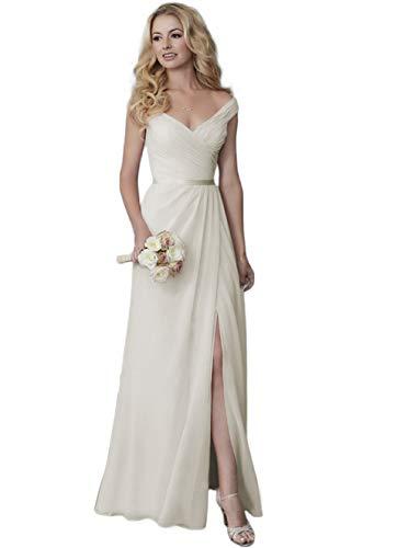 Off the Shoulder Simple Slit Wedding Dress