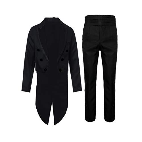 Decha Herren 2 Stück Frack Anzug Set Blazer Kleid Sakko Steampunk Gothic Slim Fit Uniform Cosplay Kostüm Smoking Mantel Anzugjacke Blazer Set Smoking Jacke Hose