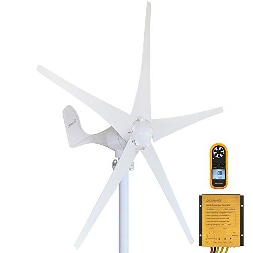 Pikasola Wind Turbine Generator Kit 400W 12V with 5 Blade, Wind Generator Kit with Charge Controller, Wind Power Generator for Marine, RV, Home, Windmill Generator Suit for Hybrid Solar Wind System