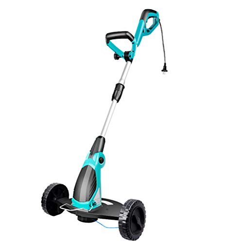 Review MLXG 650w Electric Grass Trimmer,3 Adjustable Wheels Height 100-125cm Retractable and 180° A...