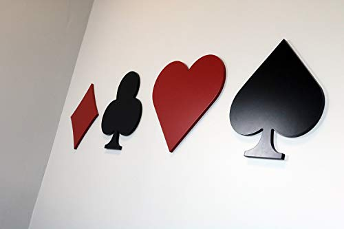 CUSHYSTORE 4X Poker Card Suits 5 Casino Las Vegas Ace of Spade Heart Clubs Diamond Black Red Decal Vinyl Sticker for Motorcycle Car Trunk Tailgate Laptop Table Door Window Party DIY