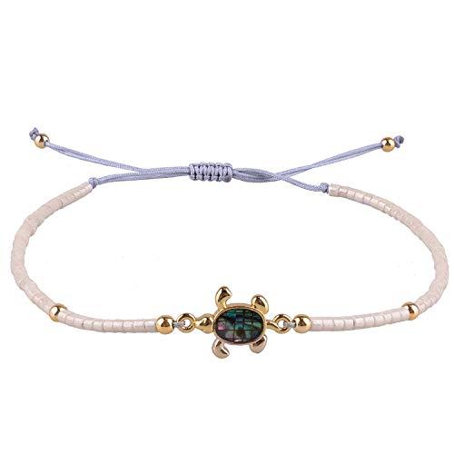 KELITCH Armbänder Zum Damen Männer Japanisch Importieren Perle Empfindlich Schildkröte Handgefertigt Einstellbar String Armreif Freundschaft Charme Armband Zum Mädchen (Beige)