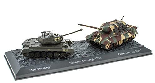 - Lote de 2 Tanques Militares 1:72 World of Tanks: M26 Pershing + JADTIGER Battle of Remagen Alemania 1945 (OT5 + OT6)