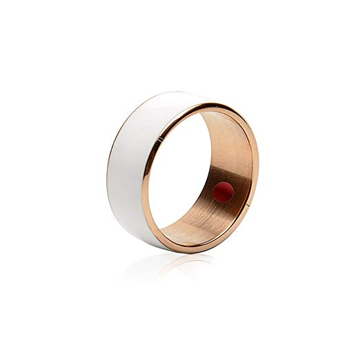 JXFS Smart NFC Ring, Multifunctional Waterproof Intelligent Ring Smart Wear Finger Digital Ring for Android and Windows Phonesl Men and Women-White-7#