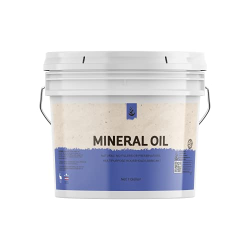 Mineral Oil (1 Gallon) Resealable Bucket, Food & USP Grade, Odorless, Wood Conditioner, Stainless Steel...