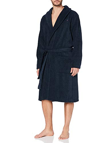 Tommy Hilfiger Herren Icon Bathrobe Bademantel, Blau (Navy Blazer-PT 416), L