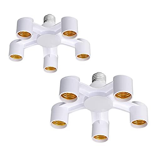2 adaptadores 5 en 1 E27 a E27, adaptador separador, adaptador de bombilla extensor, enchufe de convertidor divisor para recepción, oficina o garaje