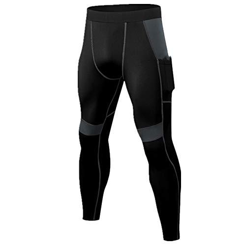 N\P Hombres Medias Pantalones Correr Hombres Entrenamiento Fitness Deportes Polainas Bolsillo Gimnasio Jogging Sudor