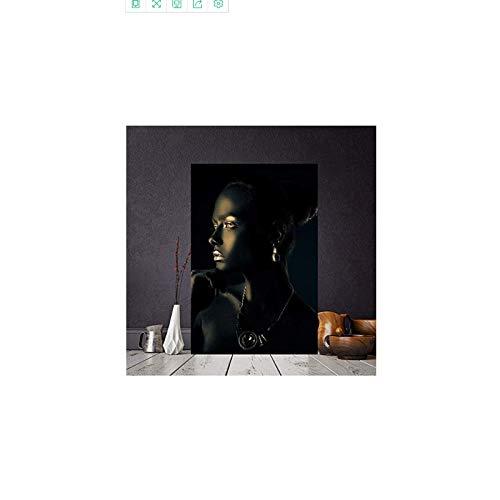 CAPTIVATE HEART Lienzo de impresión 60x90cm Carteles de Retrato Indio de Mujer Desnuda Africana de Oro Negro e impresión de Arte de Pared escandinavo para Sala de Estar