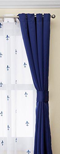 "Serenta Fleur De Lis Thermal Insulated Blackout Curtains 6 Piece Set, 54"" x 63"", Dark Blue"
