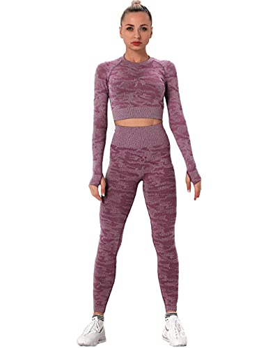 qqff Gimnasio Fitness Mujer Yoga Traje Entrenamiento,Women's Two-Piece Gym Suit,Archery Sportswear-Purple_M,Mallas Deportivas Mujer Padel