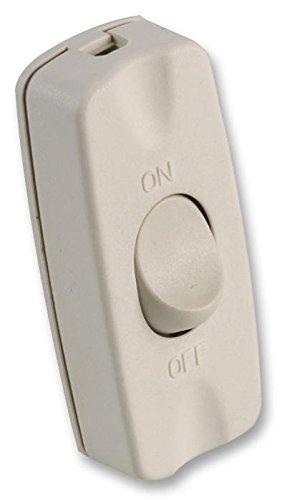 rhinocables Interruptor basculante en línea, 2 A, 2 núcleos, cable flexible para pequeños electrodomésticos y lámparas de mesa (blanco)