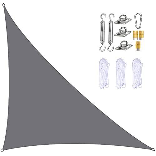 Yeanee Sombra de sol triángulo con accesorios de montaje al aire libre Sail impermeable 90% bloqueo UV negro beige para restaurante comercial playa 2x2x2m 3x3x3m