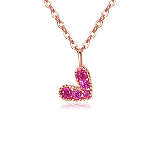 Likass - Colgante de plata de ley 925, regalo de joyería para esposa, madre y novia, collar de novia, joyería de dama de honor, regalo de cumpleaños, regalo de Año Nuevo, amor de los diamantes rosas frescos