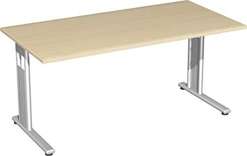 Gera Möbel S-618103-AH/SI Schreibtisch Lissabon, 160 x 80 x 72 cm, ahorn/Silber