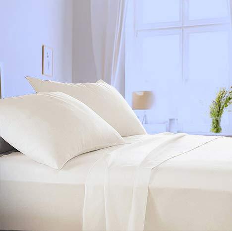 Made in Italy - Completo Lenzuola per letto 1 Piazza e Mezza in puro cotone di alta qualità 100% Made in Italy (sotto con Angoli H 20cm) Angel's (Panna, 1 piazza e mezza)