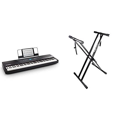 Alesis Recital Pro Piano Eléctrico Digital Con Teclado De 88 Teclas De Acción Martillo + Rockjam Xfinity Doublebraced Premontado Soporte...
