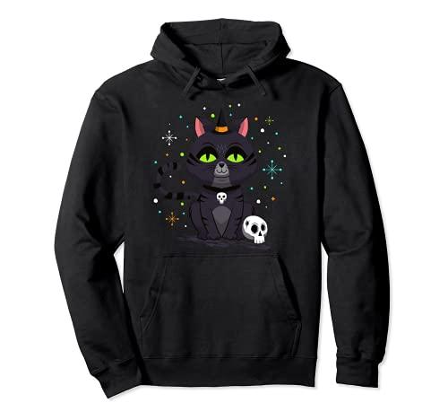 Bruja gato Halloween calabaza espritu gtico gato Halloween Halloween Sudadera con Capucha