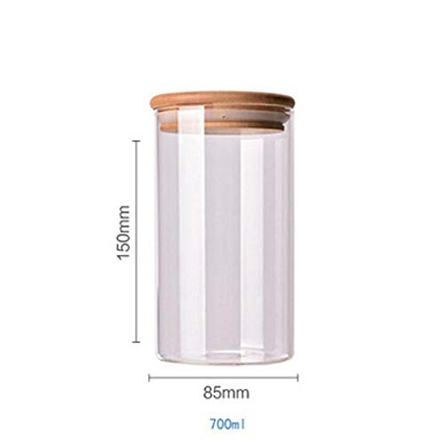 Jun Food Container Bamboo Covered High Borosilicate Food Sealed Glass Tank Kitchen Miscellaneous Grain Storage Boxes,8