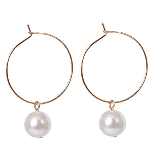 Timesuper Pendientes de metal con perla geométrica y forma de círculo para mujer, color plateado