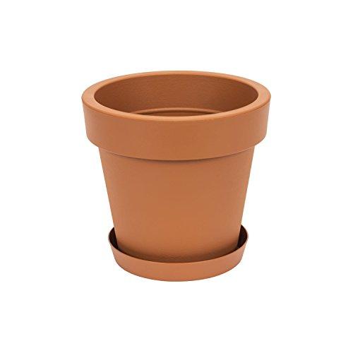 Pot de fleur avec soucoupe Lofly, 20 cm diam, en terre cuite