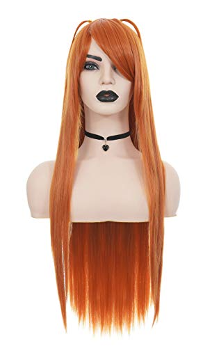 JapanAttitude Perruque Longue Lisse Orange, Cosplay