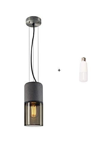 SLV Pendelleuchte Lisenne + LED Leuchtmittel im Set | Dimmbare LED Deckenleuchte, Hängelampe für Wohnzimmer, Bar, Esszimmer | Decken-Lampe in exklusivem Design, Rauchglas, Basalt-Stein, E27, EEK E-A++
