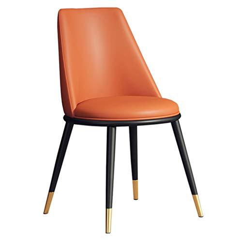 Sedia da Pranzo per la casa Sedia da Ristorante Sedia Comoda per Il Tempo Libero Sedia da Pranzo in Ferro battuto Sedia da Pranzo in Tessuto (Color : Orange, Size : 43 * 43 * 82cm)