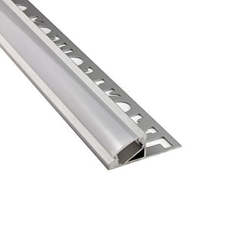 LED Aluprofil T77 12mm silber 30° Fliesenprofil + Abdeckung Abschlussleiste Bordüre Fliesen für LED-Streifen-Strip 2m milky