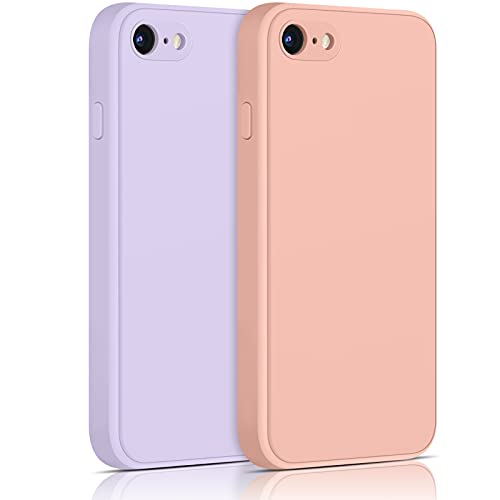 Yisica[2 Pack]Funda de Silicona Compatible con iPhone SE 2020 / iPhone 8 / iPhone 7, Funda de Silicona con [Forro de Microfibra Suave] Protección Completa, 4.7'