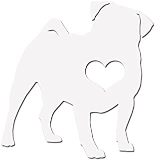 Dark Spark Decals Pug Breed Love I Heart My Pug - Vinyl Decal for Indoor or Outdoor use, Cars, Laptops, Décor, Windows, and More - White 5 inch