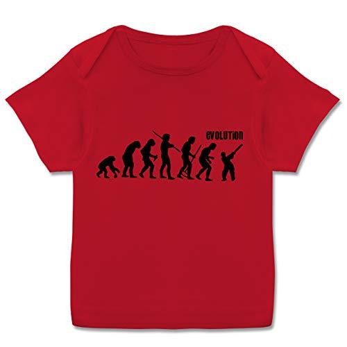 Evolution Baby - Cricket Evolution - 80-86 (18 Monate) - Rot - Geschenk - E110B - Kurzarm Baby-Shirt für Jungen und Mädchen