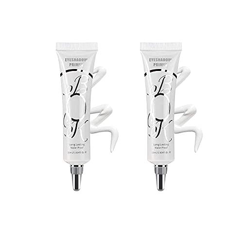 LOKFAR 2 Pack Matte Eyeshadow Primer for Oily Lids White Eyeshadow No Crease Eye Primer Makeup Eyeshadow Base Waterproof & Smudge-proof & Long Lasting Cream Liquid Eye-shadow for All Shadows (Set A)