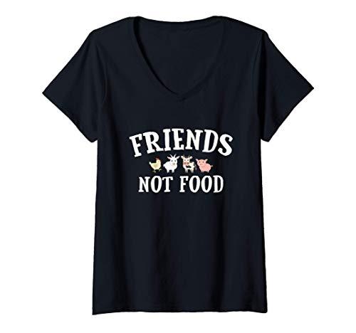 Womens Vegetariano, Vegano, No Coma Animales, Friends Not Food Camiseta Mujer Cuello V
