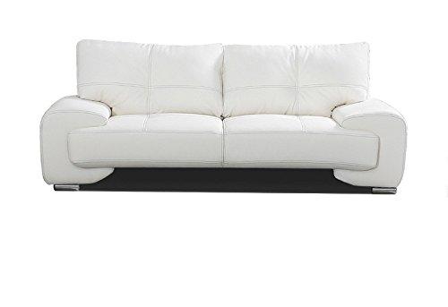 Canapé fixe 3 places Blanc Cuir