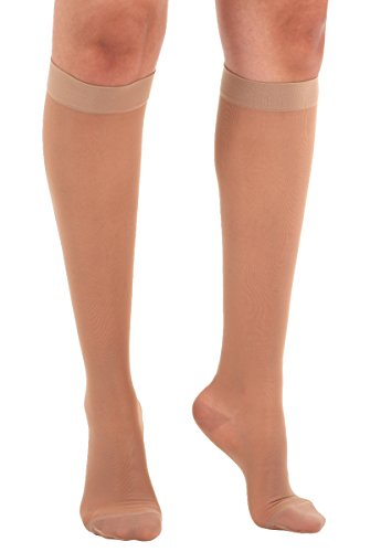 Made in The USA - Absolute Support 2XL Wide Calf Compression Stockings -Sheer Wide Calf Knee High, 15-20 mmHg- Graduated Compression Hose for Women -Beige, XXL, SKU: A101BE5