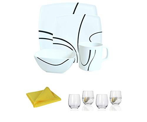 Moritz - Vajilla de melamina para 4 personas, diseño zen + 4 vasos de agua Tiamo + 1 paño de microfibra amarillo para camping