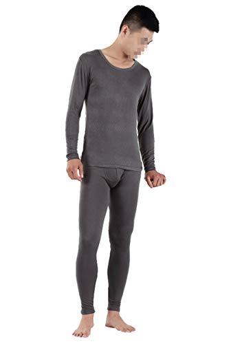 Ropa Interior térmica Larga de otoño para Hombre, Conjuntos de Ropa Interior Fina Modal para Hombre, cálida Talla Grande XL- 9XL Dark Gray 9XL
