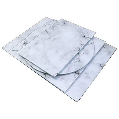 U HOME Tabla de cortar de cristal de 16 x 12 pulgadas, decorativa cuadrada de mármol tabla de cortar para cocina con vidrio templado
