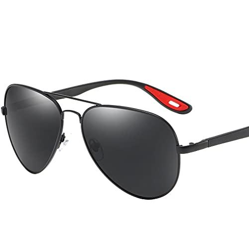 LORYLOLY Gafas de sol Hombre Polarizadas Pilot - 100% Protección UV400 Deportes Motocicleta Conducción Pesca Golf Gafas - Prima de aleación Al-Mg Metal Marco,Bisagras de Resorte para Hombres Mujere