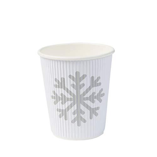 BIOZOYG schöne Winter Motiv Bio Pappbecher to Go Kaffee Becher Einweg I Coffee to Go Riffel-Becher 200 ml / 8 oz weiß I 25 Einwegbecher biologisch abbaubar